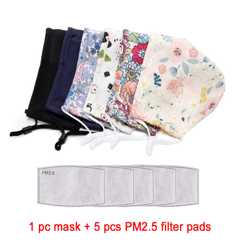 Set Of Reusable Washable Non-disposable Mouth-muffle 3 Layers Cotton Adult Textile Mouth Face Masks With PM2.5 Filter Pads
