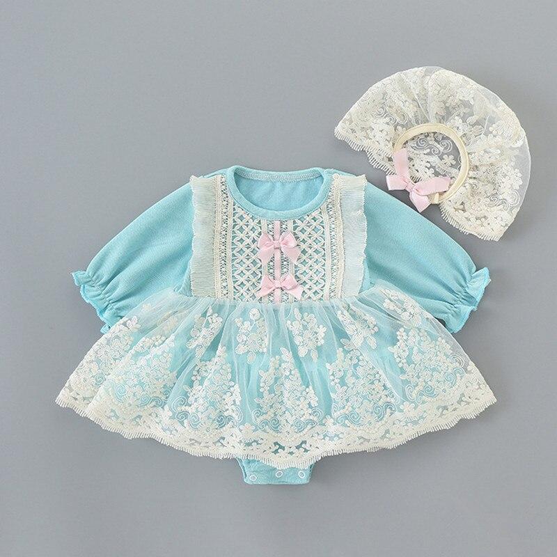 Babador pequeno bebê meninas um pedaço de manga comprida de renda roupa do bebê batismo tutu saias + chapéu 2 pçs/set