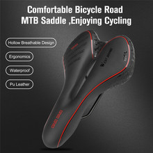 Bicycle Saddle PU Leather Waterproof Hollow Soft Shock-absorbent Cycling Road Mountain Bike Seat Accessories