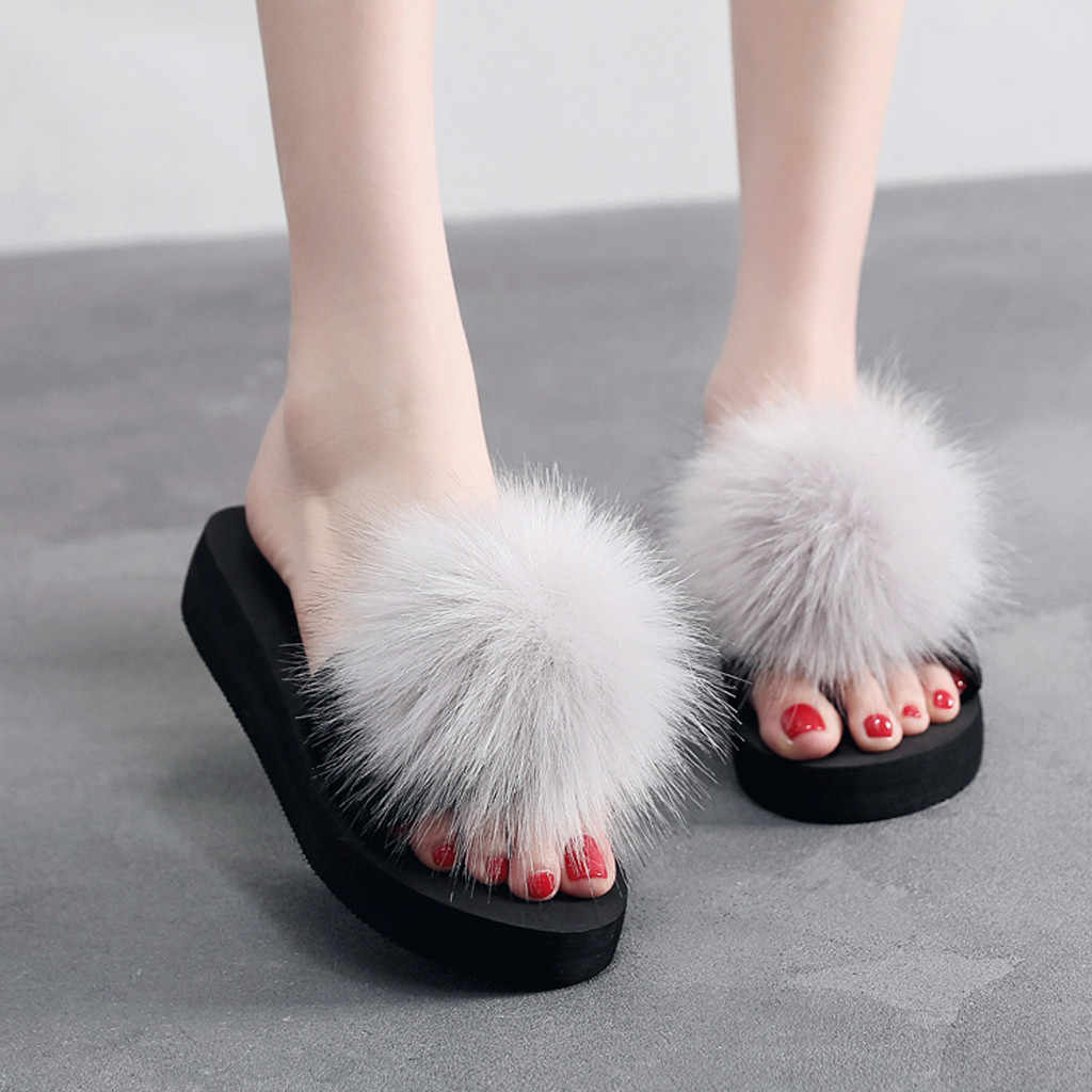 Winter Shoes Woman Thick Sole Slippers Warm Pompon House Flip Flops Platform Buty Damskie Indoor Outdoor Домашние Тапочки #15
