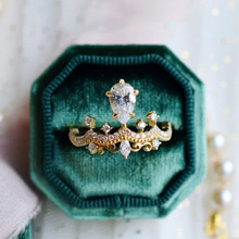 Luxury Female Girl Crystal CZ Stone Crown Ring For Women Boho Wedding Engagement Ring Party Gift Charm Rhinestone Ins Jewelry bella fashion lovely crown frog animal party ring green enamel open ring gold tone for women girl party daily jewelry gift