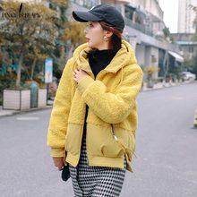 PinkyIsBlack Autumn Winter Jacket Women Coat 2019 New Short Hooded Fluff Fur Patchwork Warm Parka