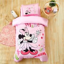"""Розовый комплект постельного белья с Минни Маус Дисней для детей, 4"""" X 59"""", размер кроватки, пододеяльник, подушка, Шам, хлопок, постельное белье, одеяла для девочек"""