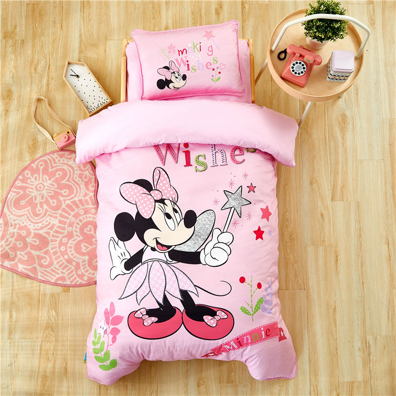 """Disney Pink Minnie Mouse Bedding set for Kids 47""""X59"""" Crib Size Duvet Cover pillow Sham 100% Cotton Bed Linens Girls Comforters"""