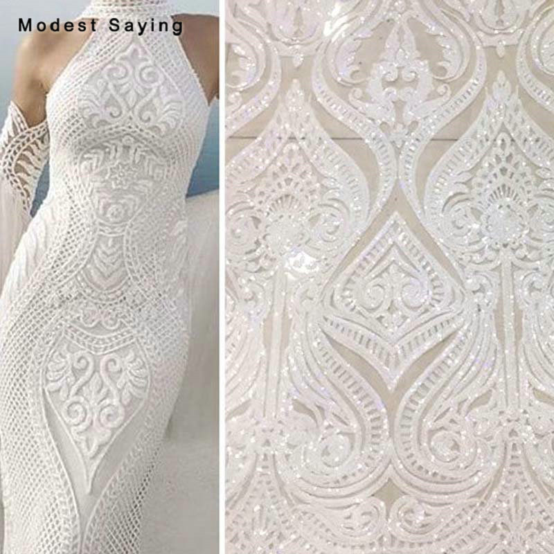 5 Yards Shiny Ivory Sequins Fabric For Evening Dresses 2019 Embroidered Mesh Cloth Wedding Party Prom Gowns Net Lace Material
