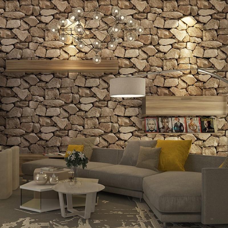 Rétro 4D brique papier peint décor à la maison salon chambre canapé fond mur brun autocollant imperméable PVC brique mur papier peint