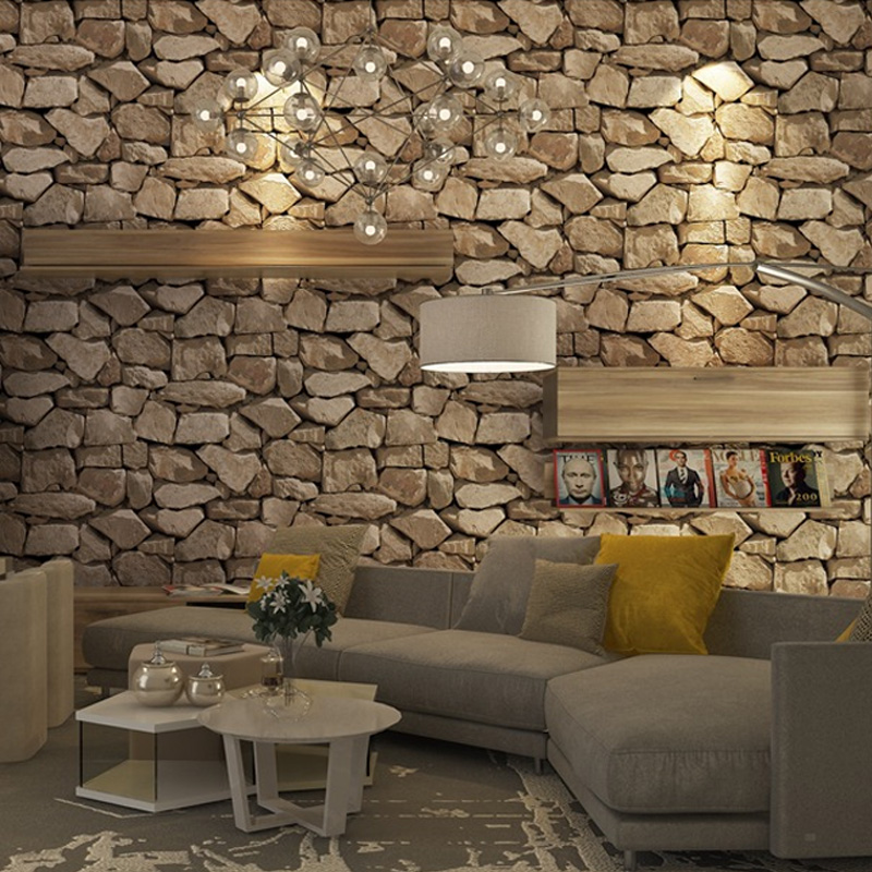 Retro 4D Brick Wallpaper Home Decor Living Room Bedroom Sofa Background Wall Brown Sticker Waterproof PVC Brick Wall Wallpaper