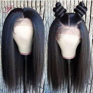 Image 3 - Кудрявые прямые Синтетические волосы на кружеве человеческие волосы парики предварительно вырезанные для черный Для женщин 13x4 Реми бразильские Яки Синтетические волосы на кружеве парики из натуральных волос на пользу