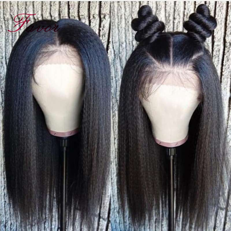 Image 3 - Kinky Straight Lace Front Human Hair Wigs Pre Plucked For Black Women 13x4  Remy Brazilian Yaki Lace Front Human Hair Wigs Favor-in Human Hair Lace Wigs from Hair Extensions & Wigs