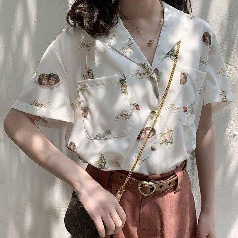 Купить блузка женская с узором deeptown винтажная рубашка в корейском