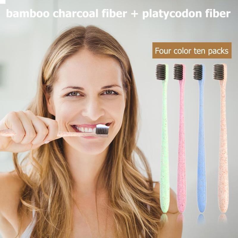 Bamboo Charcoal Toothbrushes Sets Oral Health Care Eco-friendly for Travel Four Colors Packaging and Transportation image