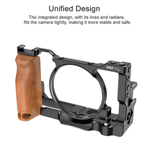 Image 4 - UURig Metal Camera Vlog Cage for Sony RX100 VI/VII Dual Cold Shoe Quite Release Plate with Wooden Handgrip 1/4 Screw Accessories