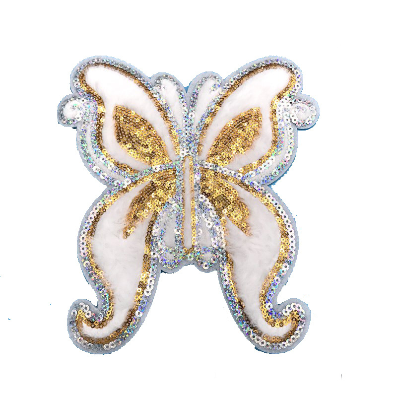New Butterfly Embroidered Cloth Patch Sequin Patch Pearl Cloth Patch Clothing Embroidered Decal