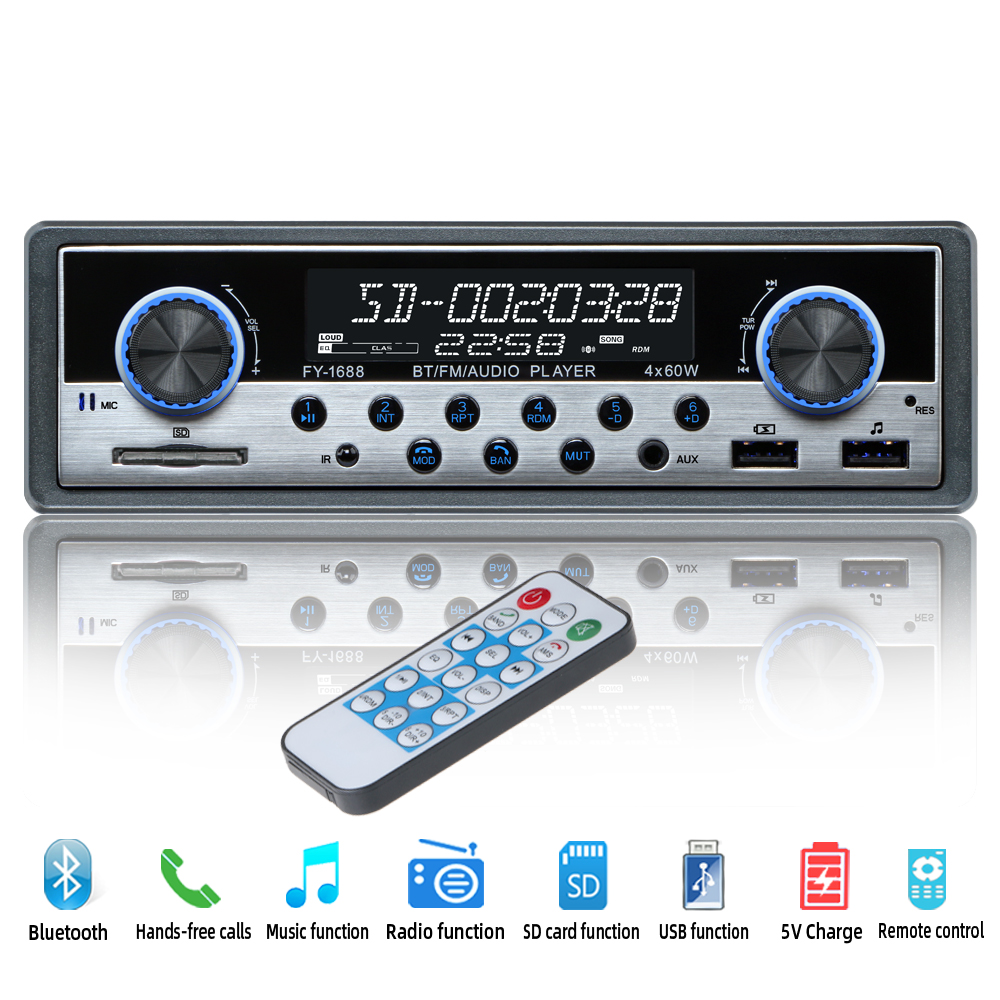 <font><b>Car</b></font> Radio Coche Aux bluetooth Autoradio Stereo <font><b>Audio</b></font> MP3 USB Radios Para Auto automotivo Electronics <font><b>1</b></font> <font><b>din</b></font> <font><b>Car</b></font> Multimedia Player image