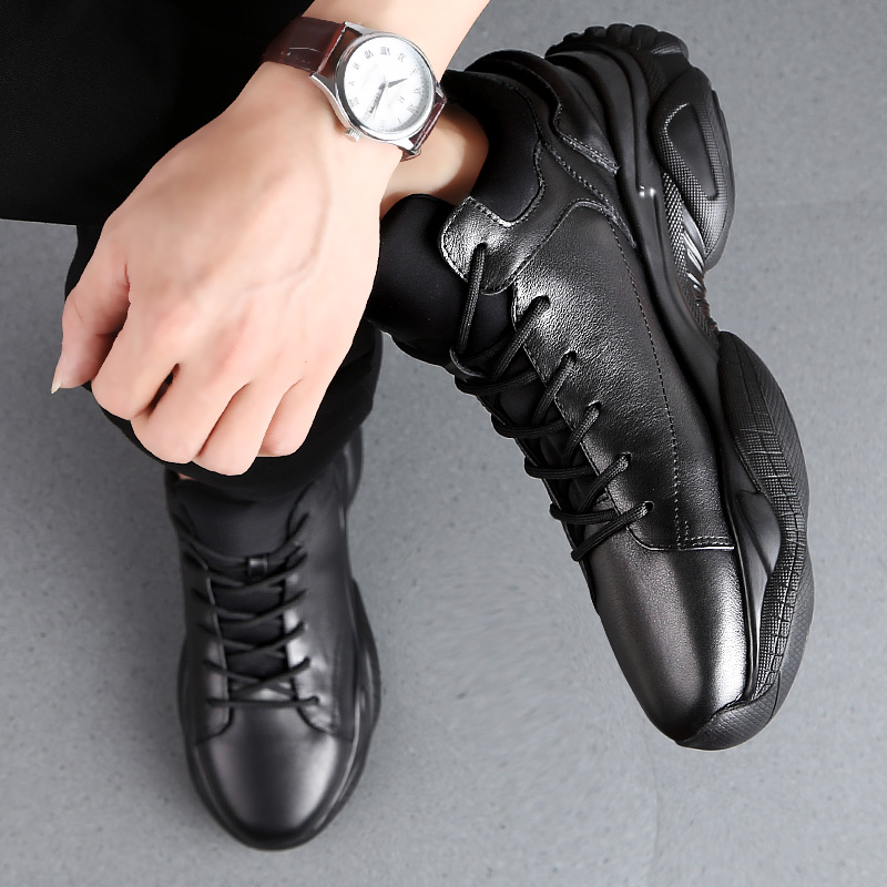 Spring/Autumn 3 CM Height Increase Leather Casual Men Sneakers Men Elevator Shoes Thick Sole Young Men Daily Footwear