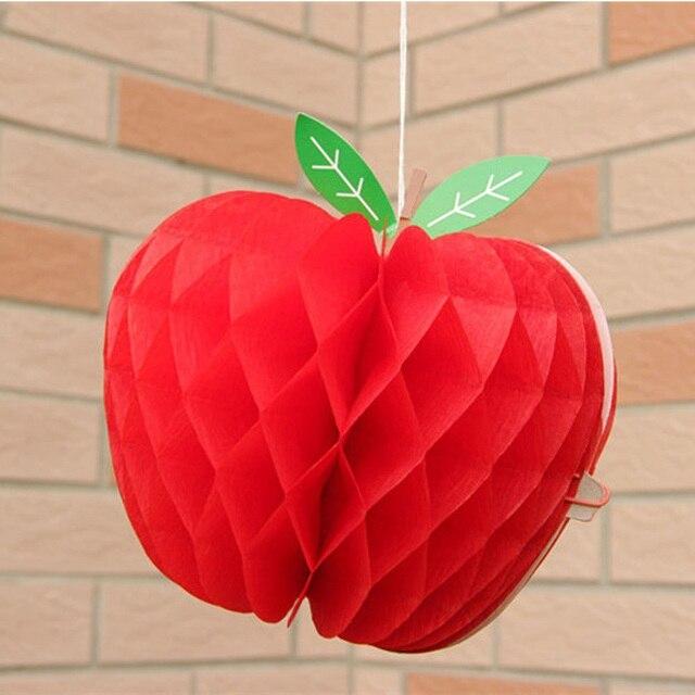 10 sztuk jabłko kształt Honeycombs dekoracja jabłko Garland Honeycomb bibułka owoce wiszące jabłko impreza tematyczna powrót do szkoły