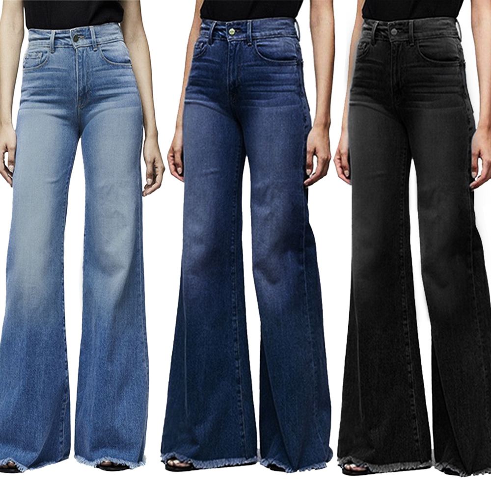 Puimentiua Women High Waisted Wide Leg Denim Pants Stretch Slim Pants Length Jeans Slim Button Pocket Pant Femme Jeans Plus Size
