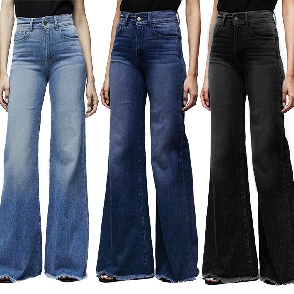Puimentiua Women High Waisted Wide Leg Denim Pants Stretch Slim Pants Length Jeans Slim Button Pocket Pant Femme Jeans Plus size