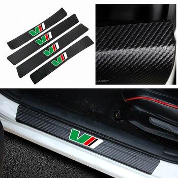 4 Uds coche Placa de alféizar de puerta Anti-arañazos de pegatinas de fibra de carbono para skoda octavia VRS octavia fabia rápido yeti superb Accesorios