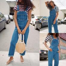 Casual Women Denim Blue Overalls Jeans Belted Pocket Button Female Jumpsuit Romper Fashion Streetwear Lady Body Bodysuit buttoned pocket belted palazzo jumpsuit