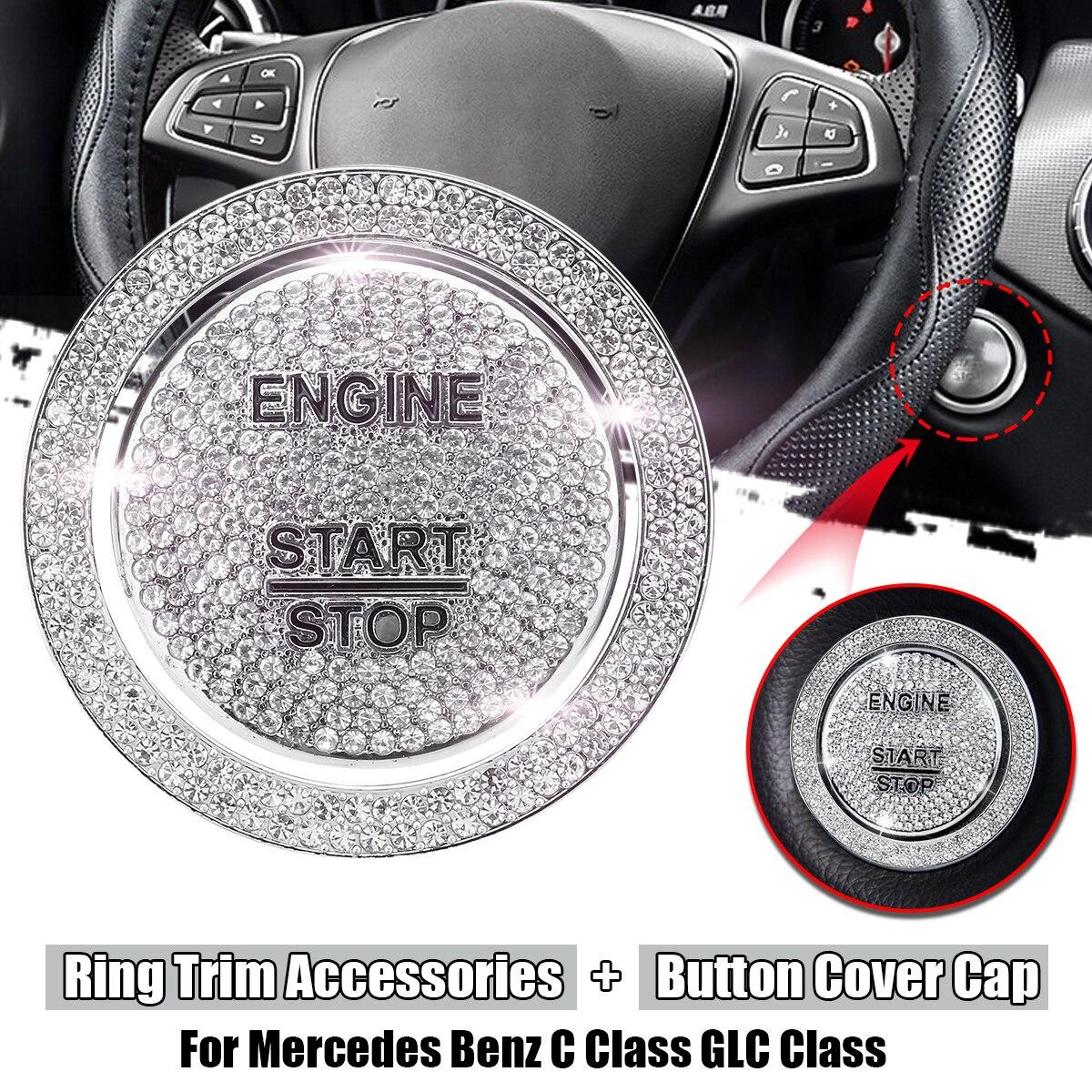 Otomobiller ve Motosikletler'ten Otomotiv İçi Çıkartmaları'de Araba motoru start stop ateşleme tek düğme kapağı ve halka Trim aksesuarları Mercedes Benz C sınıfı için W205 GLC sınıf 1 adet title=