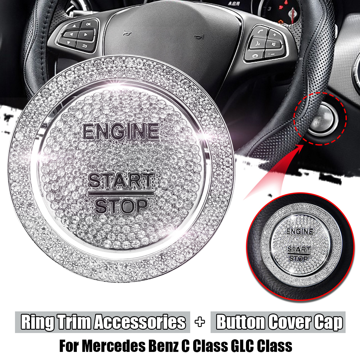 Car engine start stop Ignition One-Button Cover and Ring Trim Accessories For Mercedes for Benz C Class W205 GLC Class 1piece