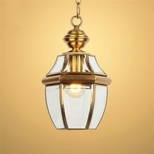 Balcón moderno antiguo lámparas colgantes LED antigua de cobre colgante de cristal luces de la barra corredor interior al aire libre de luz Hanglamp Accesorios