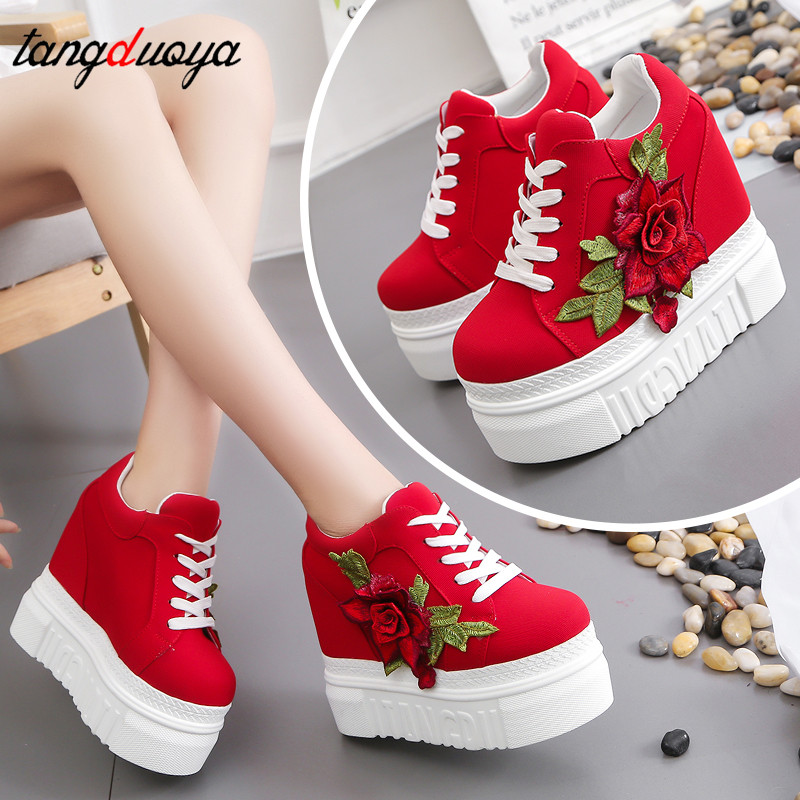 Platform Sneakers Women Vulcanize Shoes Vintage Lace Up High Heel Wedge Platform Women Shoes Leisure Girls Woman Footwear White