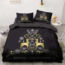 3D Black Duvet Cover Sets Bedding Set Bed Linen Xmas Comforter Case Pillwocase Queen Double Twin Size Marry Christmas Gold Deer(China)