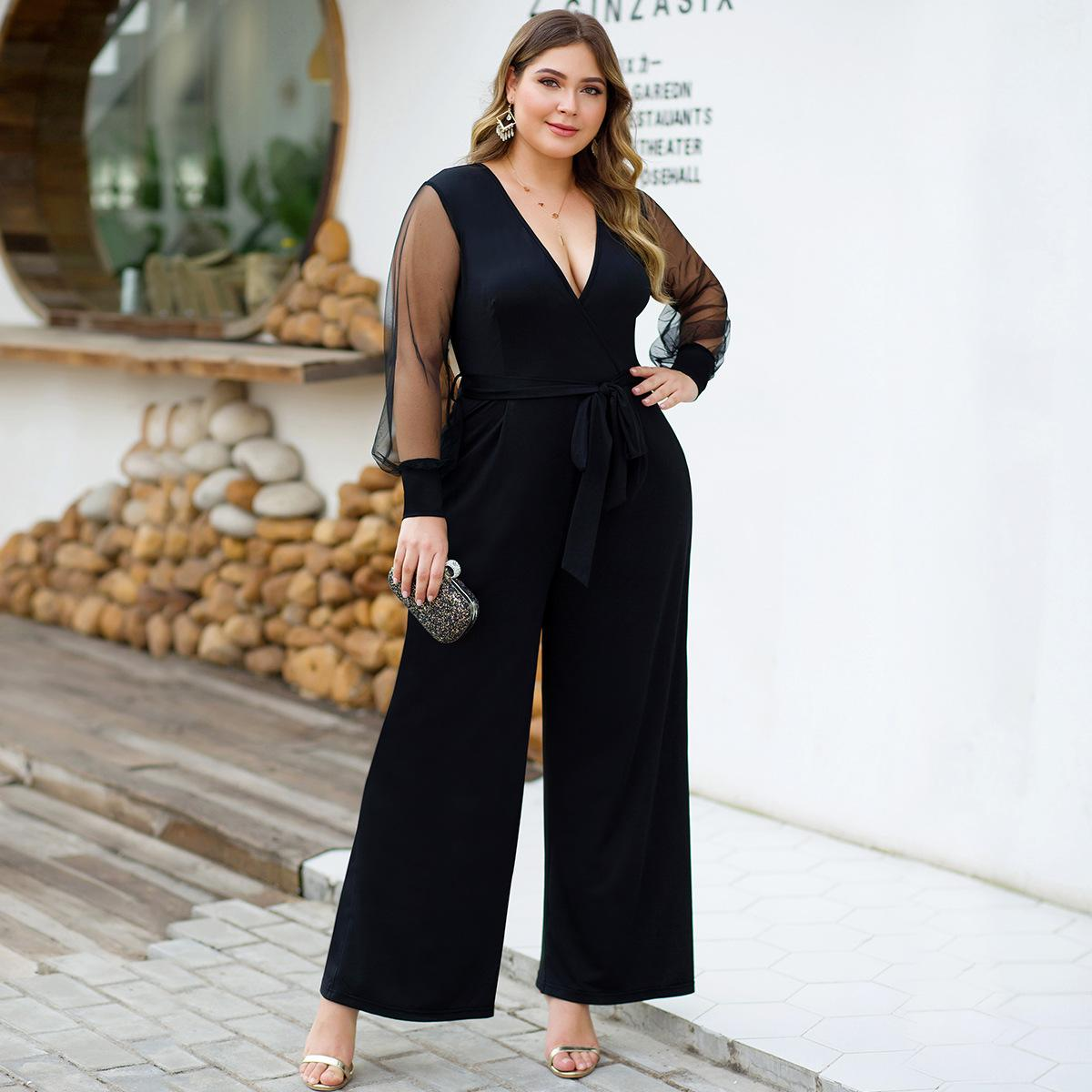 XL-4XL Autumn Plus Size Women Jumpsuit Sexy V Neck Mesh Big Size Rompers Overall Large Size Female Wide Leg Office Lady Jumpsuit