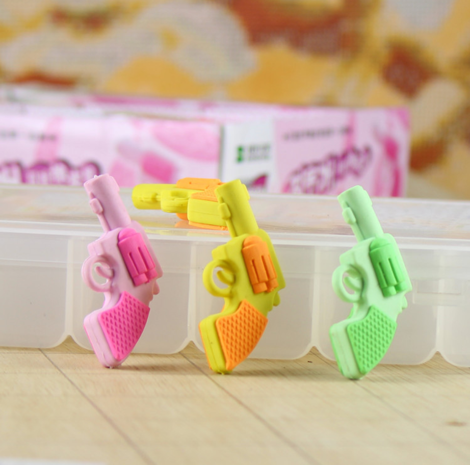 2pcs Weapon Gun Cute Rubber Pencil Eraser Stationary School Supplies Items Kawaii Office Cartoon Kids Gift Students Prizes