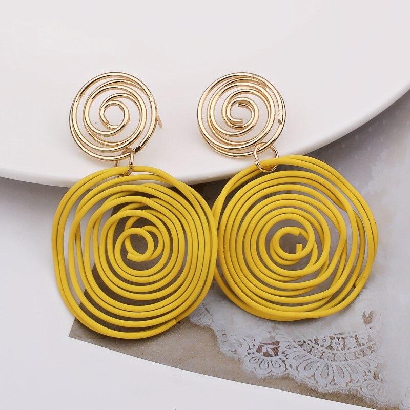 EK868 Korean Jewelry Round Triangle Heart Drop Earrings Yellow Wire Spiral Earrings Metal Maze Exaggerated Party Jewelry