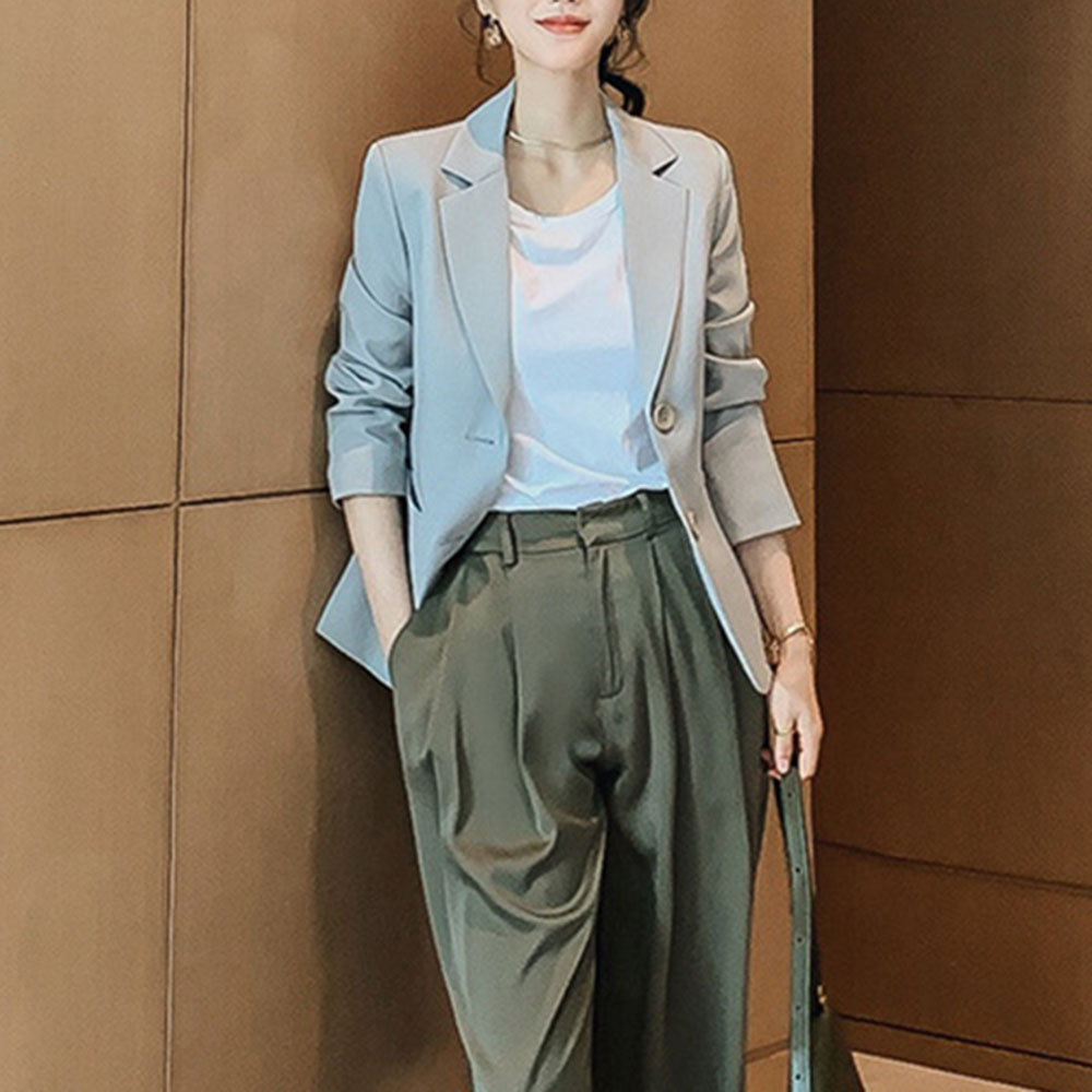 HOT 2020 Gray Casual Blazer Jacket Women Casual Streetwear Young Girl Office Blazers Fashion Black Jackets Coat Work Basic Tops