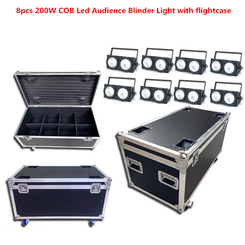 8 Pcs 200W Tongkol LED Pemirsa Blinder Cahaya dengan Flightcase 2 Mata Rgbwa UV 6in1 2X100 W strobo LED Disco DJ Lampu Lampu PAR LED