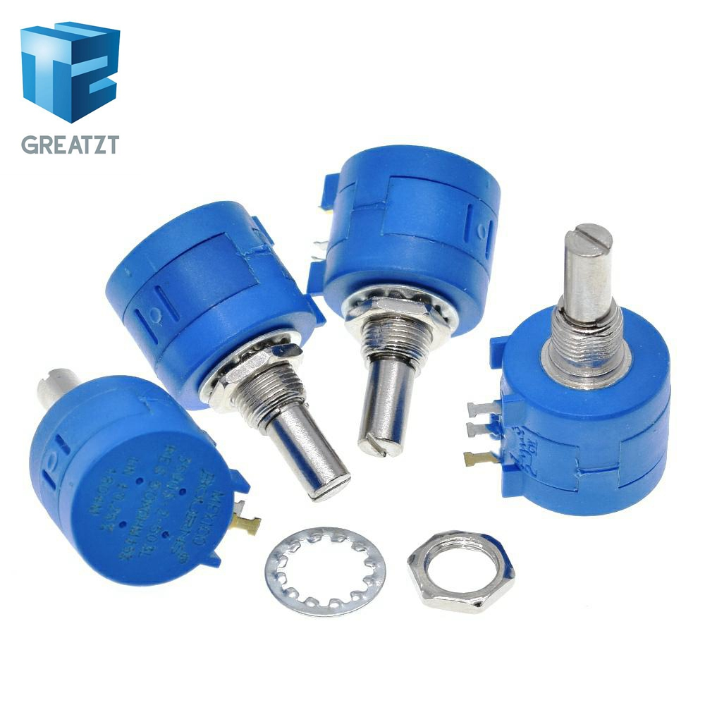 GREATZT 3590S Multiturn Potentiometer 500 1K 2K 5K 10K 20K 50K 100K Ohm Potentiometer Adjustable Resistor 3590 102 202 502 103