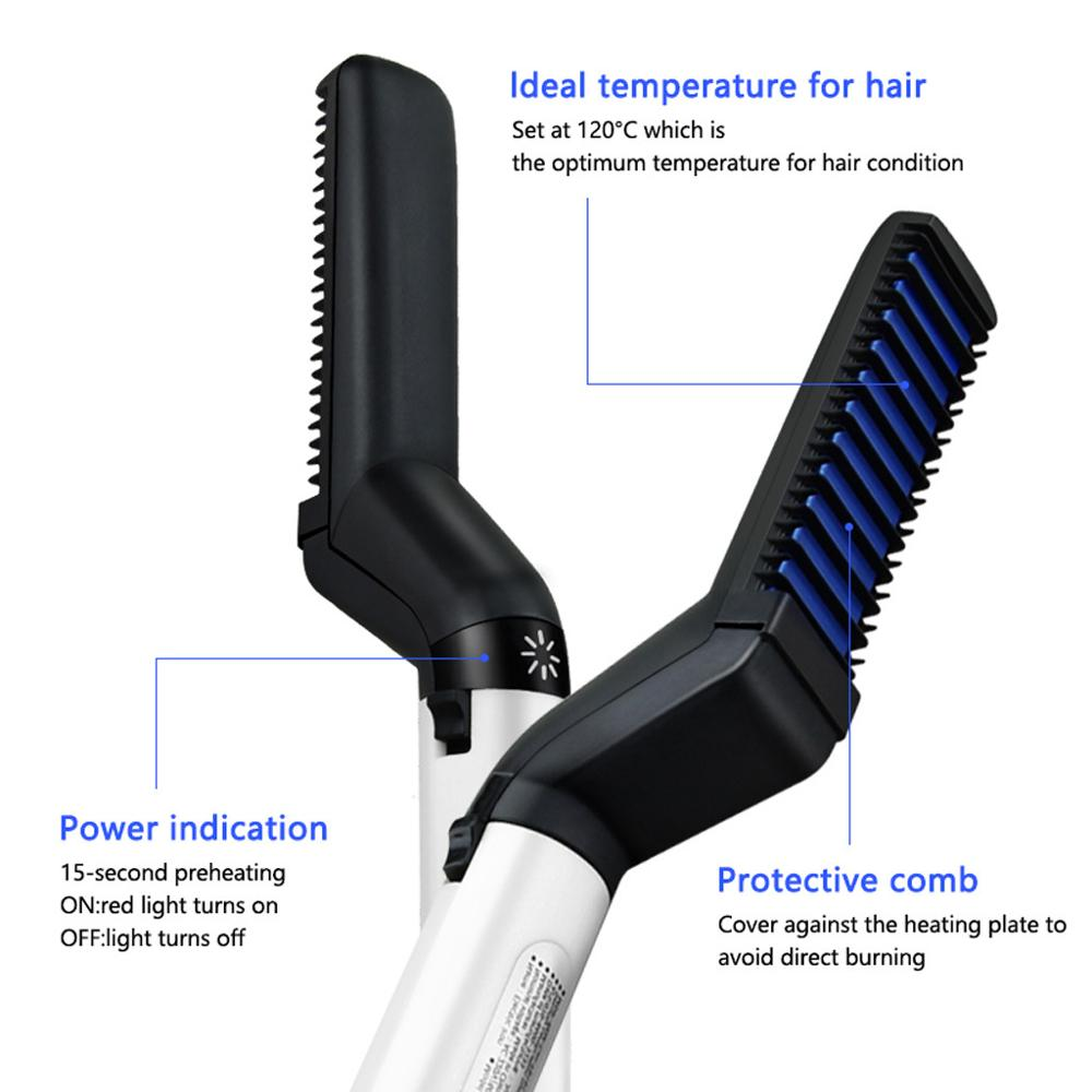 Beard Straighten Comb Brush Multifunctional  Electric Beard Comb And  Quick Hairstyle For Men 3