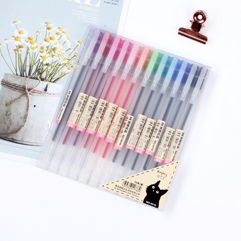 12 farbe/Set 0,5mm ujis Typ Gel Pen-Set Farben Nette Stifte Schule Büro Liefern Kugel tage Hand konto Malerei Schreibwaren Stift