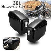 2Pcs 30L Black Motorcycle Luggage Tank Saddle Bag Motorcross Pannier Side Box ABS For Harley Cruisers For Kawasaki for Honda