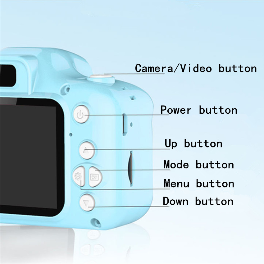 Kids Camera 2000W Cute Children's Camera With 16GB TF Card Waterproof 1080P HD Screen Camera Video Toy Outdoor Photography 4