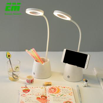 Akumulator elastyczna lampa stołowa USB regulacja jasności trzy-dotykowe ściemnianie do przechowywania długopisów uchwyt telefonu dotykowe światło ZZD0020 tanie i dobre opinie Eleven Master Dotykowy włącznik wyłącznik Nikiel szczotkowany Pvc plastikowe Desk Lamps Nowoczesne Żarówki led Lampy biurkowe