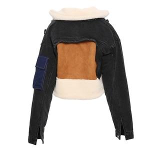 Image 3 - DEAT gabardina con cuello vuelto de piel de oveja para invierno, chaqueta de manga larga de retales de tela vaquera azul con letras estampadas, WJ1020, 2019