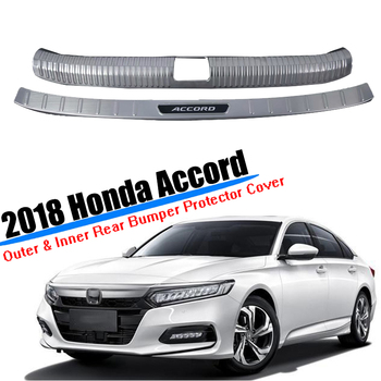 For 2018 2019 2020 Honda Accord Chrome Sliver Steel Car Trunk Inner&Outer Rear Tail Bumper Pedal Plate Panel Cover Car Styling