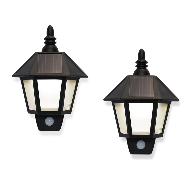 2 Solar Rechargeable Security Wall Sconce Lights with High Tech Motion Detection, Black Exterior, Warm White LEDs