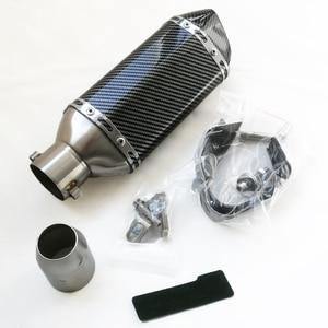 Image 5 - 탄소 섬유 51mm 오토바이 배기 수정 모토 크로스 배기 머플러 FZ6 CBR250 CB600 MT07 먼지 핏 자전거