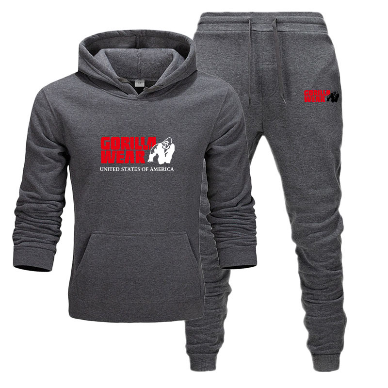 New Men's Hoodie Set Tracksuit Fashion GORILLA WEAR Sportswear Two Piece Sets All Cotton Fleece Thick Hoodie+Pants Sporting Set