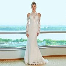 Tanpell Lace Wedding Dress Scoop Neck Open Shoulder Long Sleeve Button Women Party Gown Mermaid