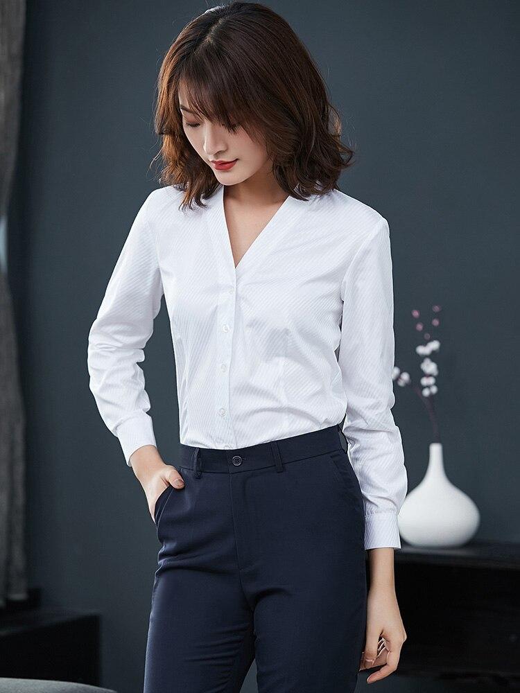 Haute qualité femmes d'affaires Costume banque d'uniforme bureau solide chemises femme Slim Fit Long manches courtes chemise vêtements