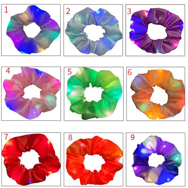 2020 New Arrival Girls LED Luminous Scrunchies Hairband Ponytail Holder Headwear Elastic Hair Bands Solid Color Hair Accessories 6
