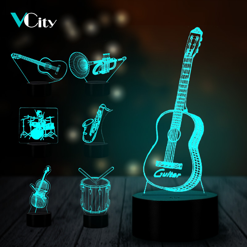 VCity Music Instrument 3D Lamp Acrylic Plate Touch Remote Base Home Bedroom Decor 7 Colors Atmosphere Lighting USB Night Light