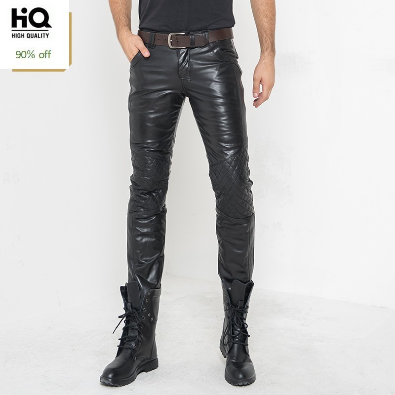 Winter Mens Fleece Lining Trousers Straight Mid Waist Heavyweight Zipper Real Leather Full Length Pencil Pants Casual Biker Man